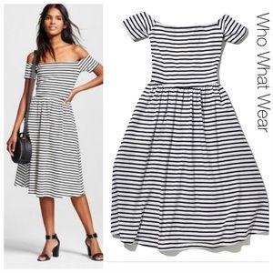 Who What Weat Striped Bardot Dress M
